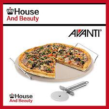 Avanti 33cm Round Pizza Stone With Rack & Pizza Cutter Set