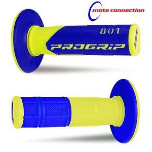 PRO GRIP 801 BLUE / FLO YELLOW MX GRIPS for YAMAHA YZ125 YZ250 YZF250 YZF450