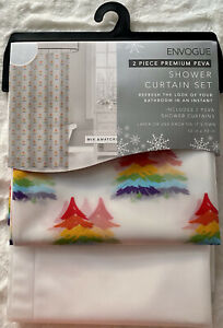 Rainbow Christmas Tree Shower Curtain Set Pride Bathroom NEW