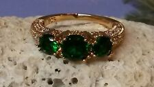 Three Lab Created Round Emeralds and Clear Cz Ring in Gold over 925 Silver