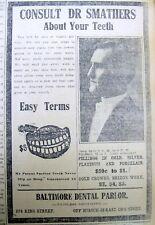 1913 Charleston SC newspaper w illustrated DENTIST AD  $5 for SET of FALSE TEETH