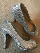 Beautiful Aldo Gold & Silver Sparkle Shoes UK Size 6.5/7 EU 40 Peep-Toe Platform