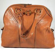 YVES SAINT LAURENT Tan Leather Y Muse Satchel Purse