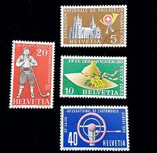 1955 Switzerland Stamps Set 351-354 Used! VF/XF! Vaud Costume Hat Steering Wheel