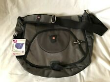 WENGER SWISS GEAR Gray Nylon Expanding Messenger Shoulder Bag Case NEW  NWT