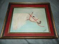 Vintage R. Koivu Original Acrylic Painting  of Horse Mid Century Signed/Framed