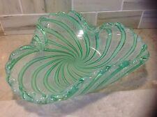 Murano Glass Fratelli Toso folded bowl w Filigree and green stripes ruffled edge