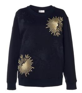 $850 NEW Lanvin Embroidered Top Jersey Cotton Sweatshirt Black Gold M