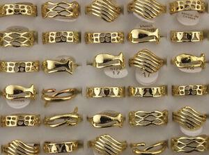 Wholesale Job Lots 60pcs Women Jewelry Gold P Hollow Alloy Lady's Fashion Rings
