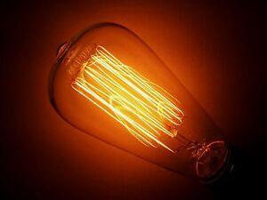 Simple Vintage ST64 Edison Light Bulb E26 40W Retro Squirrel Cage Amber Tinted