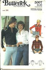 B 5007 sewing pattern 70's Western SHIRT Country Cowboy sew man's chest size 36""