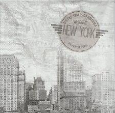 2 Serviettes en papier Carte Etats-Unis New York Paper Napkins United States
