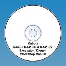 Kubota KX36-3, KX41-3S & KX41-3V Excavators / Diggers - Workshop Manual.