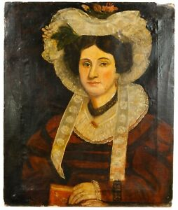 Antique Folk 19th Century Portrait Painting of a Noble Woman with Elaborate Hat