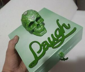 Skull Laughter them St. Patrick Green trinket box with cubic zirconia stone