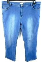 Natural reflections blue denim spandex stretch embroidered straight jeans 22WA