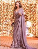 Indian Bollywood Wedding Saree Bridal Georgette Sequence Work Designer Sari LG