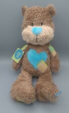 New Hallmark Until We Hug Again Voice Recorder Bear Brown Blue Hearts Plush Toy