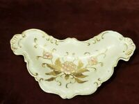 Gold Moriage Pink Roses Butterfly Shape Trinket Dish Crossed Arrows Mark