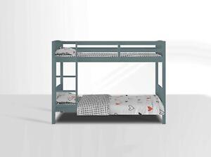 Domino Single Grey Wood Modern 3FT Bed Bunk & Mattress Stair Frame - Kids