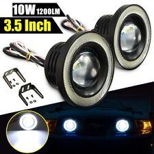 2Pcs White Car LED COB Light Projector Driving Fog Angel Halo Eye Ring Bulb Lamp
