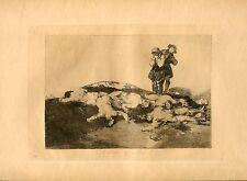 GOYA «Enterrar y callar» Grabado (gravure) orig nº18 Desastres (Disasters)