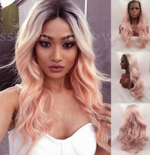 AU STOCK Ombre Pink Fashion Women Lace Front Wig Synthetic Hair Long Heat Safe