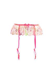 Agent Provocateur Women's Bright Floral Lace Suspender Pink M RRP £108 BCF88
