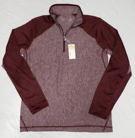 NEW Antigua Mens Small Pullover Golf Sweatshirt Sweater 1/4 Zip Maroon Heathered