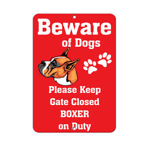 BOXER DOG Beware of Fun Novelty METAL Sign