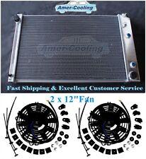 2Row Aluminum Radiator + 2 12 Fan 1973-1991 Chevy Blazer C10 C20 Suburban Pickup
