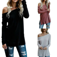 Womens Autumn Winter Long Sleeve Solid Knitted Sweater Loose T-Shirt Blouse Top