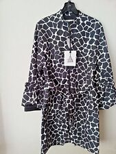 NEW $1190 Moncler Godard Jacket Coat Down Black White Giraffe Print Trench M/L