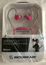 NEW  Scosche SportFlex/SportClip Air Bluetooth Wireless Headphones - Pink