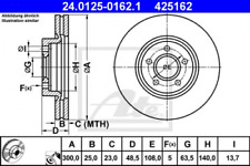 2x Bremsscheibe für Bremsanlage Vorderachse ATE 24.0125-0162.1