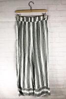 Angie Women's Black White Stripe Wide Leg Elastic Waist Pants Size Large L