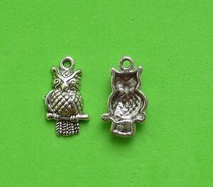 20 x Owl Bird Halloween Night Tibetan Silver Charm Pendant