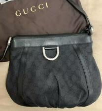 Original Gucci Black Canvas + Leather Logo Cross Body Handbag GG