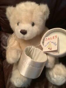 GUND Make-A-Wish Zales Diamond Plush Ivory Teddy Bear with gift box