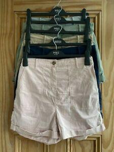 Ex M&S Brand New Pink Navy Blue Beige Tencel Cotton Turn Up Shorts Size 8 - 18