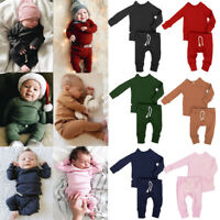 Cotton Newborn Infant Baby Boy Girl Clothes T-shirt Tops+Long Pants Outfits Sets