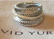 David Yurman Sterling Silver 925 Crossover Wide Cable Pave Diamond Ring Size 678