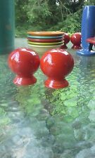 ROUND BALL BULB SALT & PEPPER SHAKERS scarlet red FIESTA
