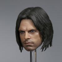 """1:6  Winter Soldier Head Sculpt Bucky Barne Carved Model F 12"""" Male Figures Body"""