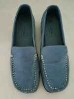 Womens Size 8W Basic Editions Comfort Light Blue Suede Loafer Step in Shoes