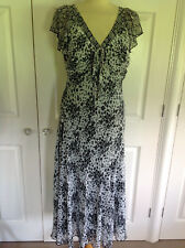 PER UNA @ M&S lovely black & ivory print fully lined cap sleeve dress UK 14 Long