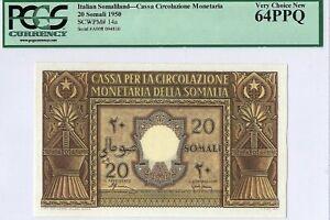 Italian Somaliland 20 Somali SCWPM #14a 1950 PCGS 64 PPQ s/n A008 094810