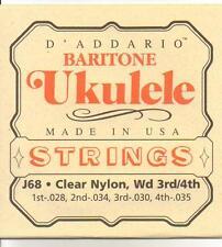 D'ADDARIO ukelele, ukelele banjo strings, baritone EBGD, clear nylon J68