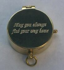 Beautiful ROMANTIC May You Find Your Way Home New Engraved Brass Pocket Compass