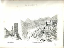1880 CHAMPORCHER vedute Valle d'Aosta litografia montagna alpinismo